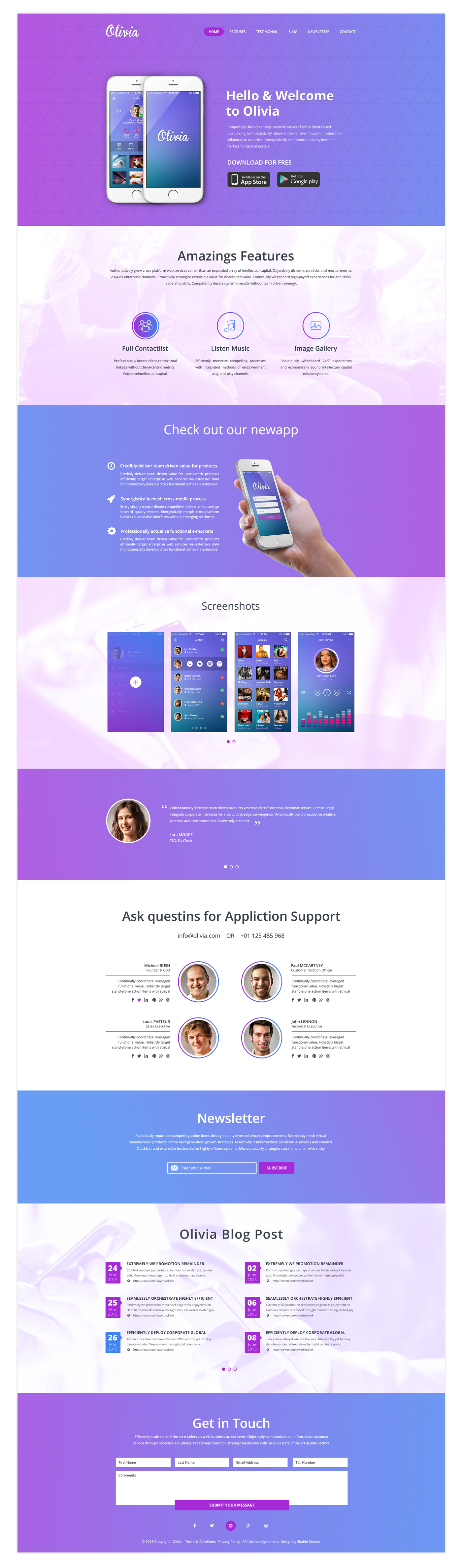 Olivia One Page Landing Page Bootstrap Template Free HTML Templates - Single page landing page template