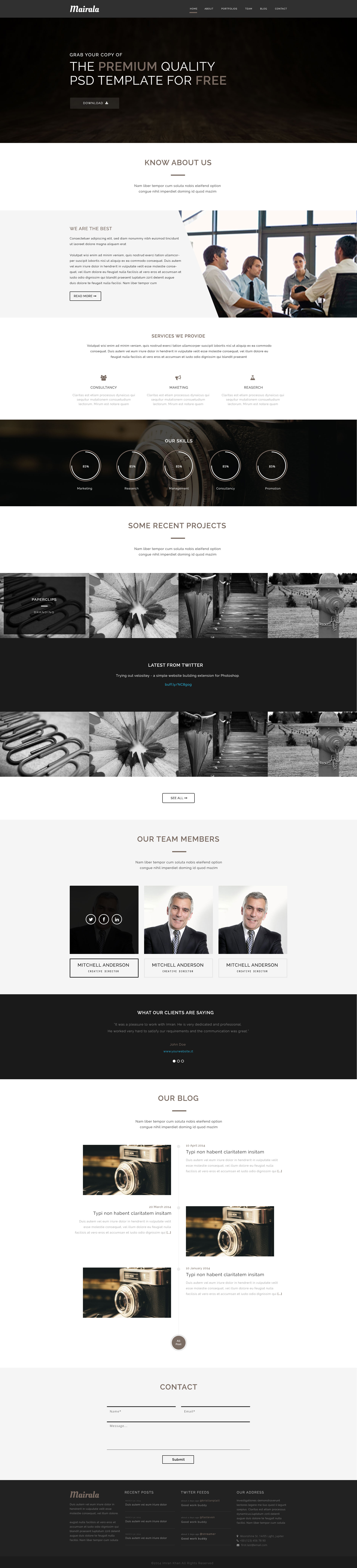 MAIRALA - Free One Page Corporate Agency PSD Template | Free HTML5 ...