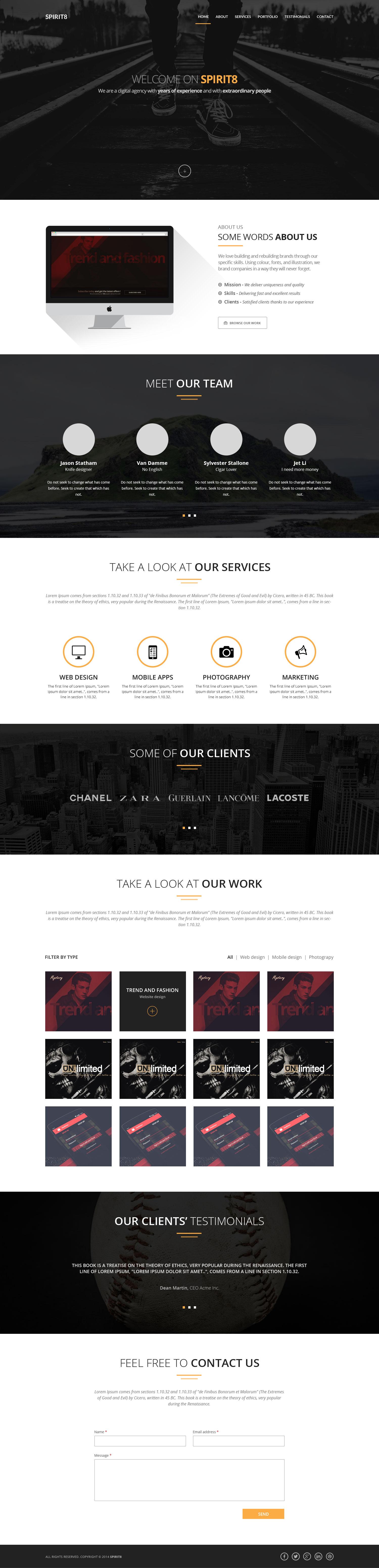 spirit8 digital agency one page web template free html5 templates. Black Bedroom Furniture Sets. Home Design Ideas