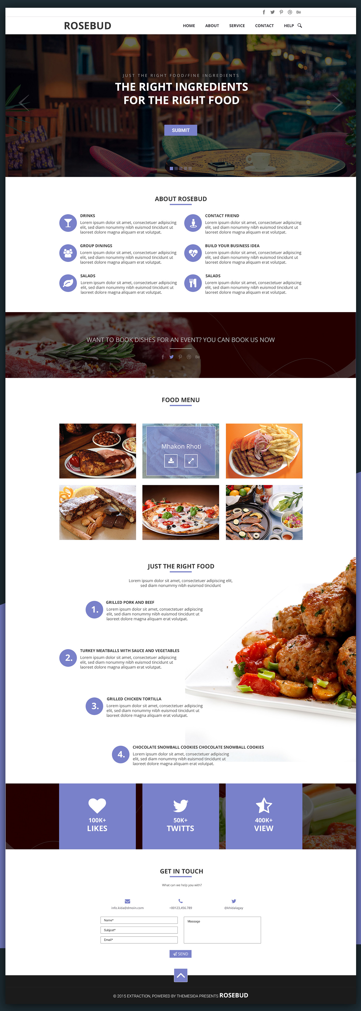 Rosebud One Page Template। Free Download