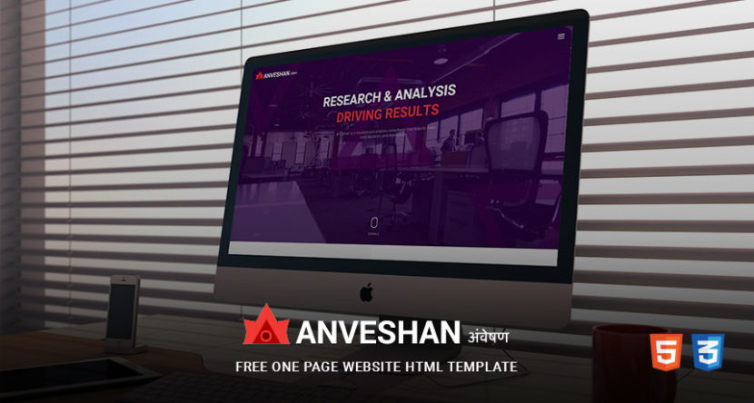 ANVESHAN – Free One Page Website HTML Template