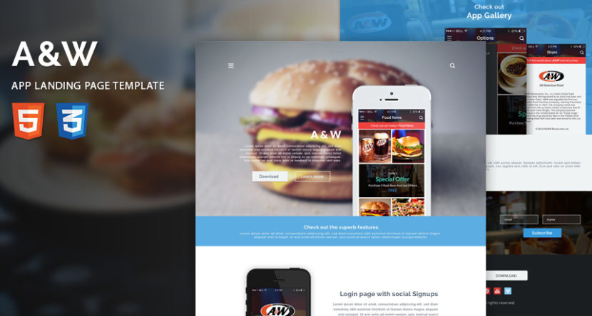A&W App Landing Page HTML Template
