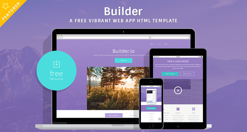 builder a free vibrant web app html template free html5 templates. Black Bedroom Furniture Sets. Home Design Ideas