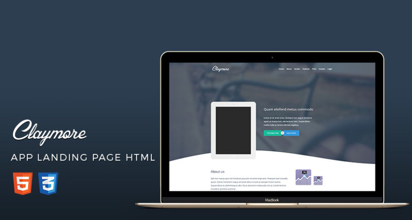 Claymore – App Landing Page HTML5 Template