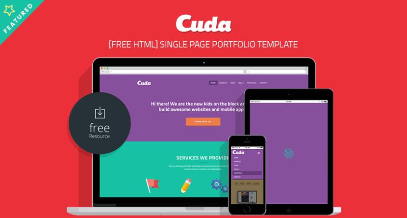 Cuda Single Page Portfolio Template Free HTML