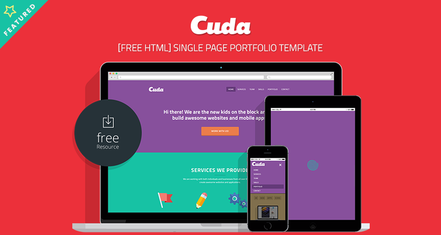 cuda single page portfolio template free html free html5 templates. Black Bedroom Furniture Sets. Home Design Ideas