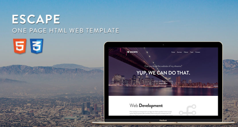 Escape – One Page PSD-HTML Web Template