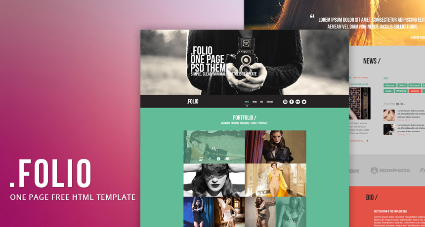 folio one page free html template free html5 templates