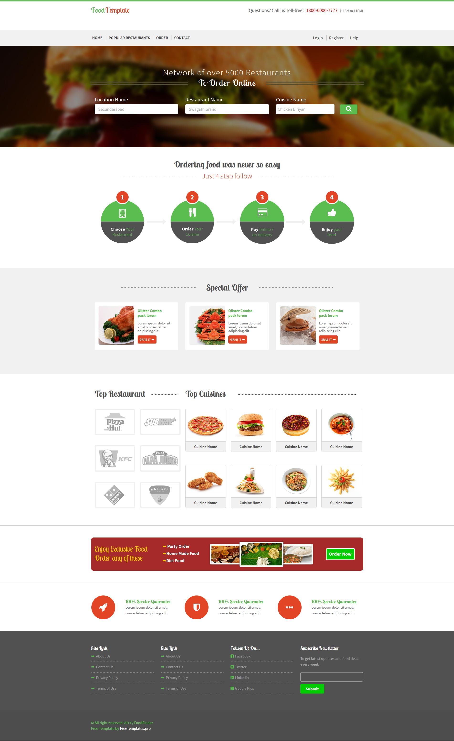 Food/Restaurant Ordering Shop Website Template HTML | Free HTML5 ...