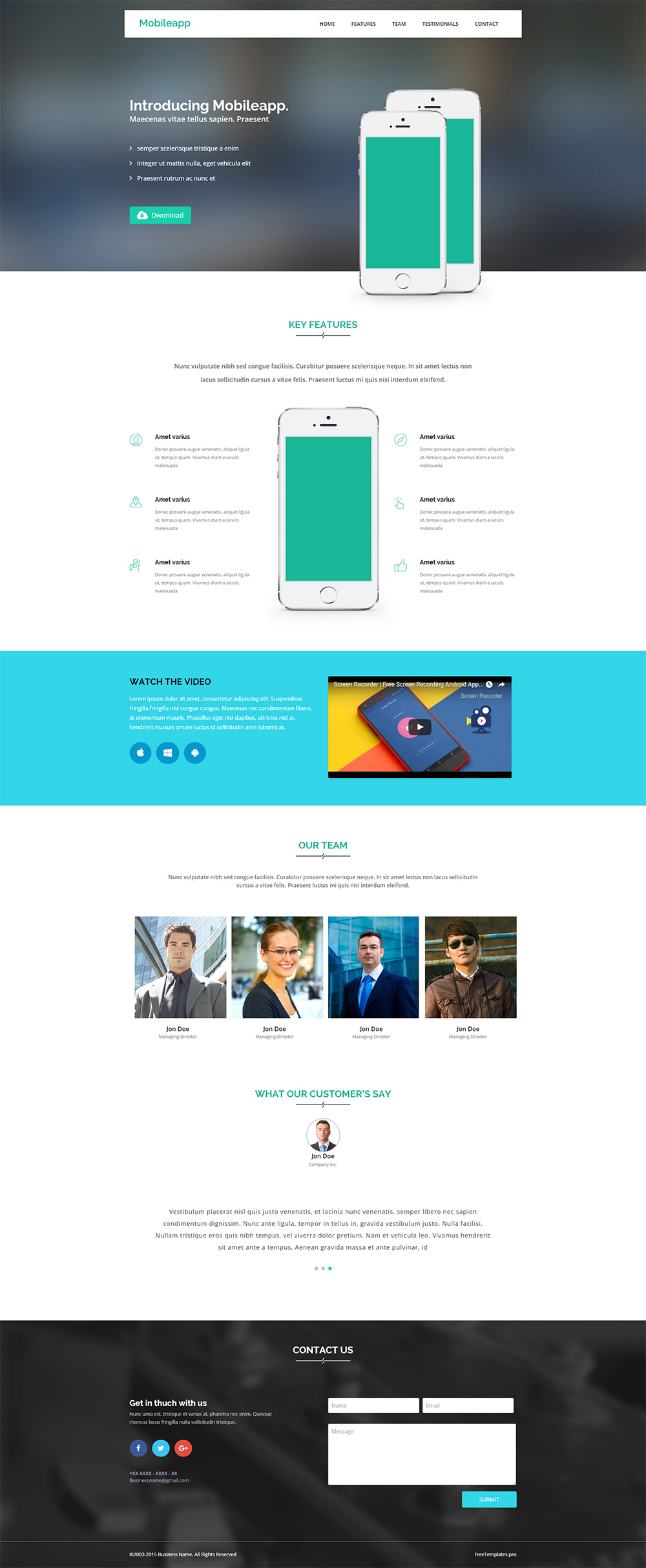 Free App Website Bootstrap HTML5 Template