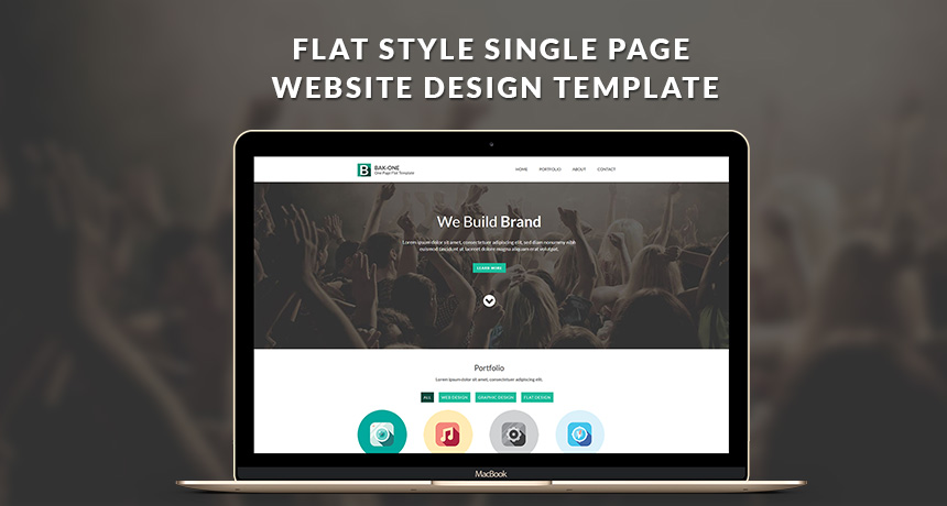 free flat style single page website design template html