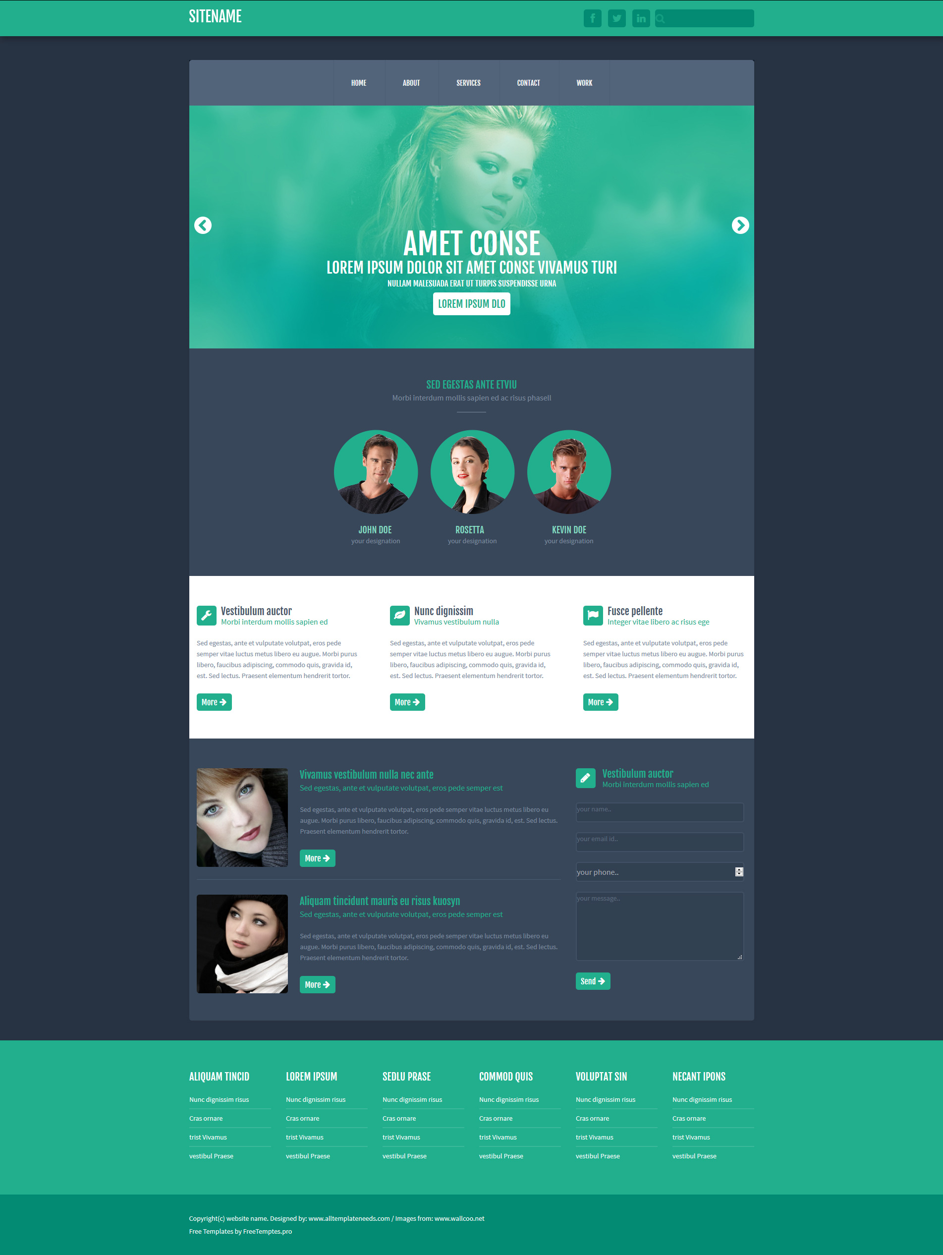 Free One Page Website HTML Template | Free HTML5 Templates