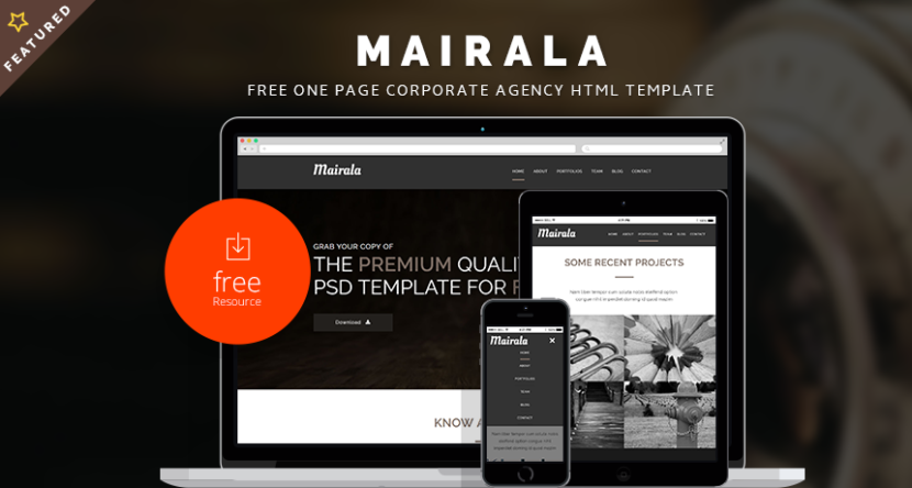 MAIRALA – Free One Page Corporate Agency PSD Template