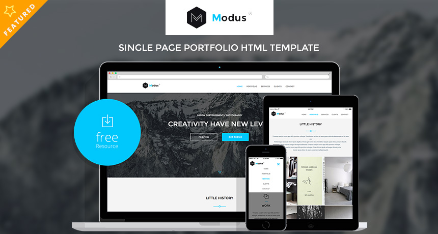 modus single page portfolio html template free html5 templates. Black Bedroom Furniture Sets. Home Design Ideas
