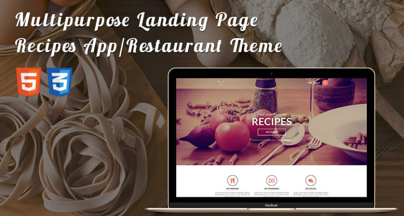 Multipurpose Landing Page for Recipes App/Restaurant Landing Page