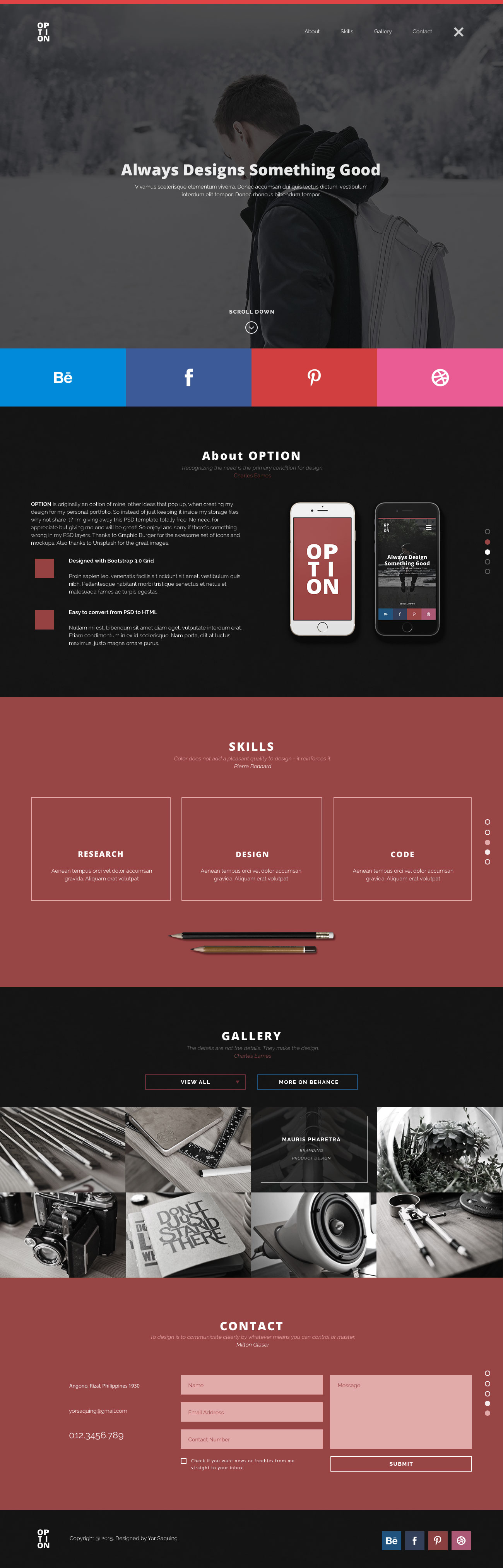 Option One Page Free Web Design Template Free Html5 Templates