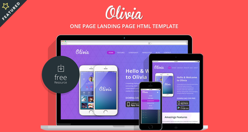 Olivia One Page Landing Page Bootstrap Template