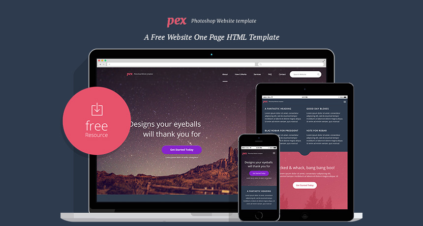 pex a free website one page html template free html5 templates