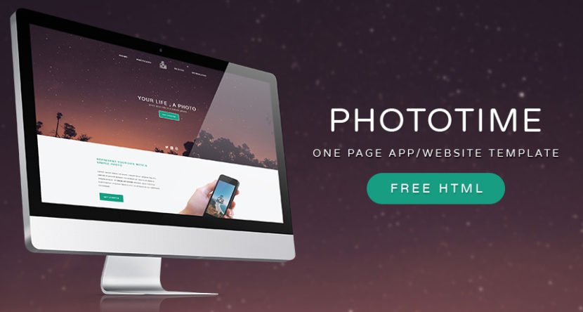 Phototime One Page App/Website Template