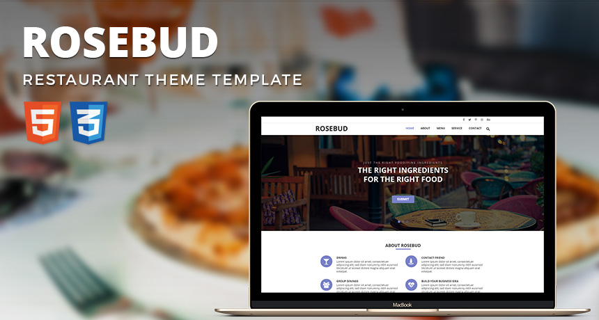 Rosebud One Page Template Free Download