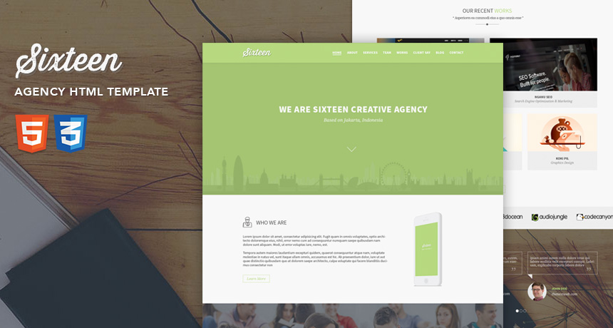 Sixteen Flat One Page Agency Template [FREE HTML]