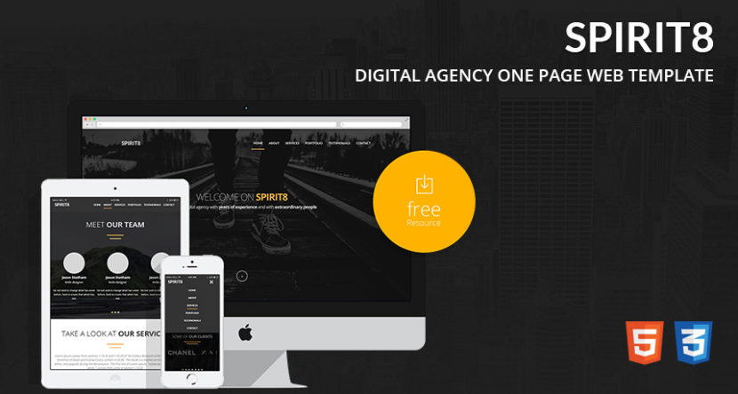 Spirit8 – Digital Agency One Page Web Template