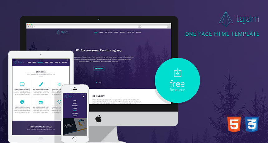 Tajam – Free One Page HTML Template | Free HTML5 Templates