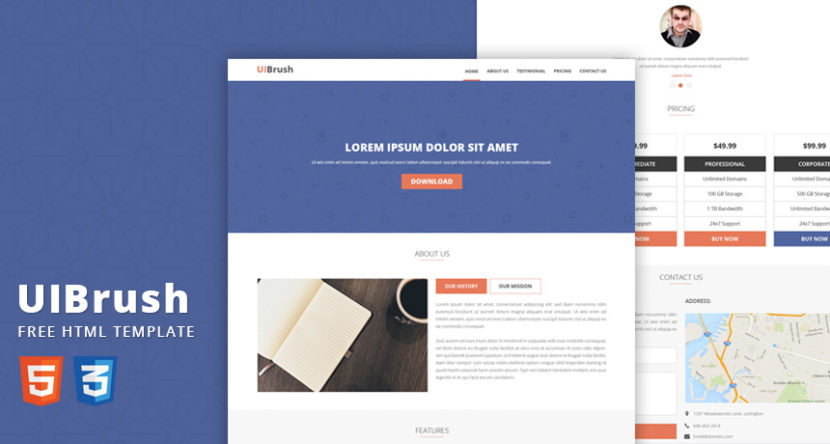 UIBrush Free Landing Page HTML Template