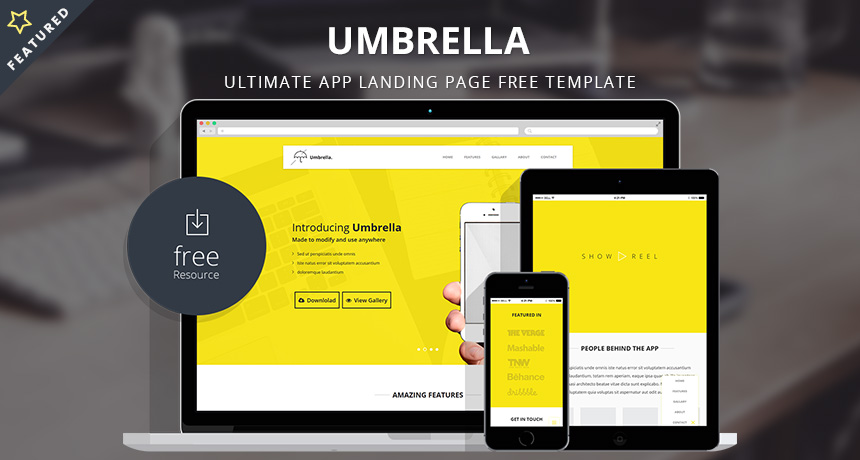wordpress squeeze page template - umbrella ultimate app landing page free template free