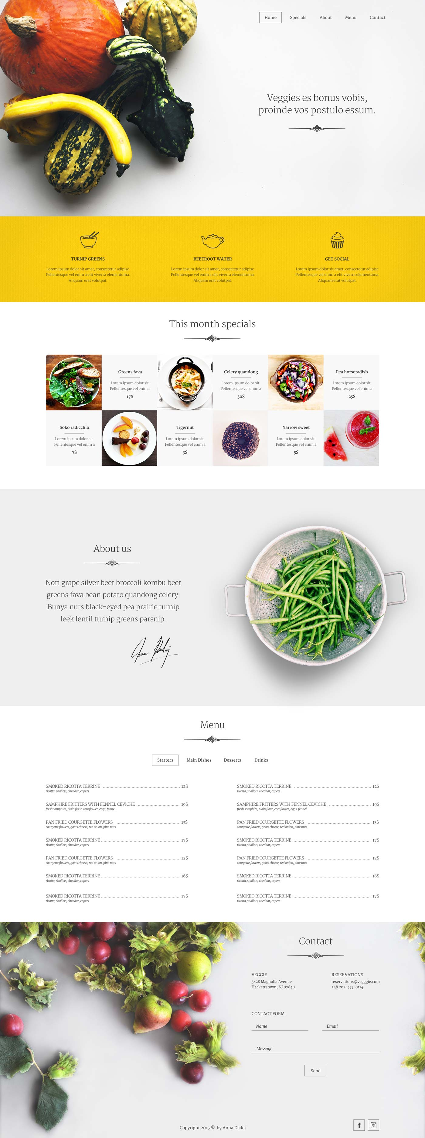 Veggie - FREE One Page PSD Template