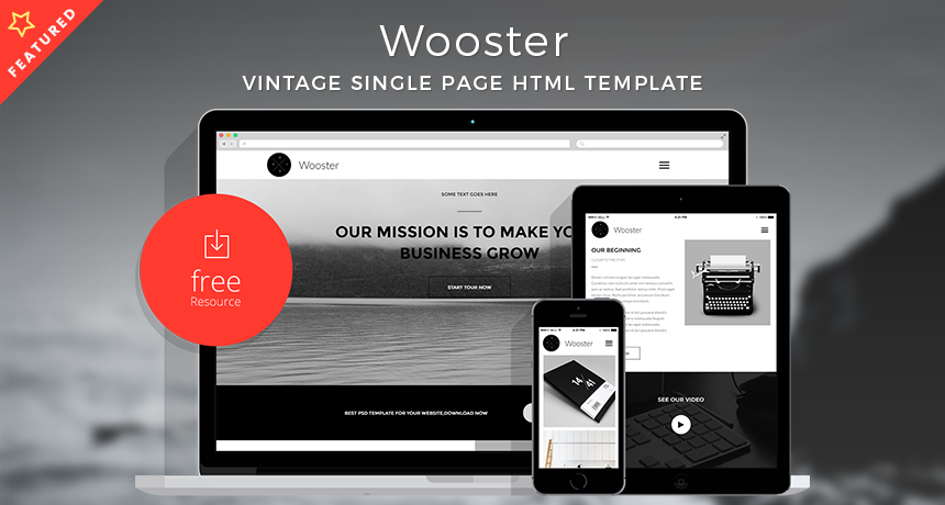 Wooster - Vintage Single Page HTML Template | Free HTML5 Templates