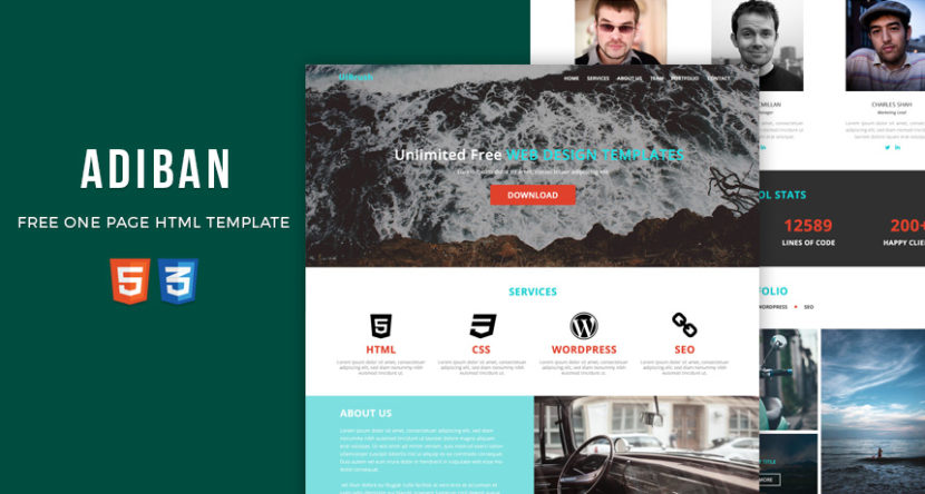 ADIBAN Free One Page HTML Template