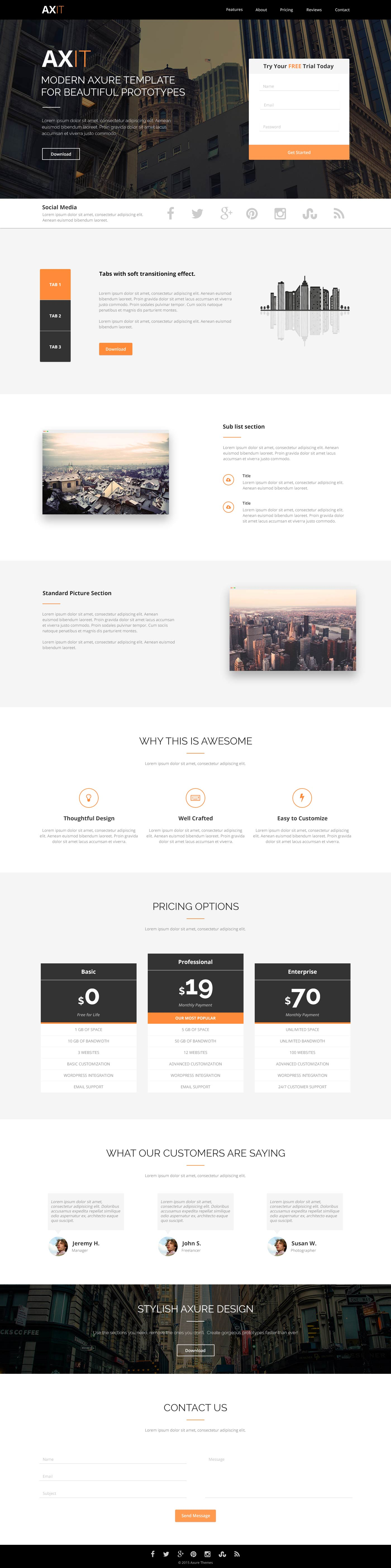 Axit Landing Page HTML Template Free HTML Templates - Single page landing page template