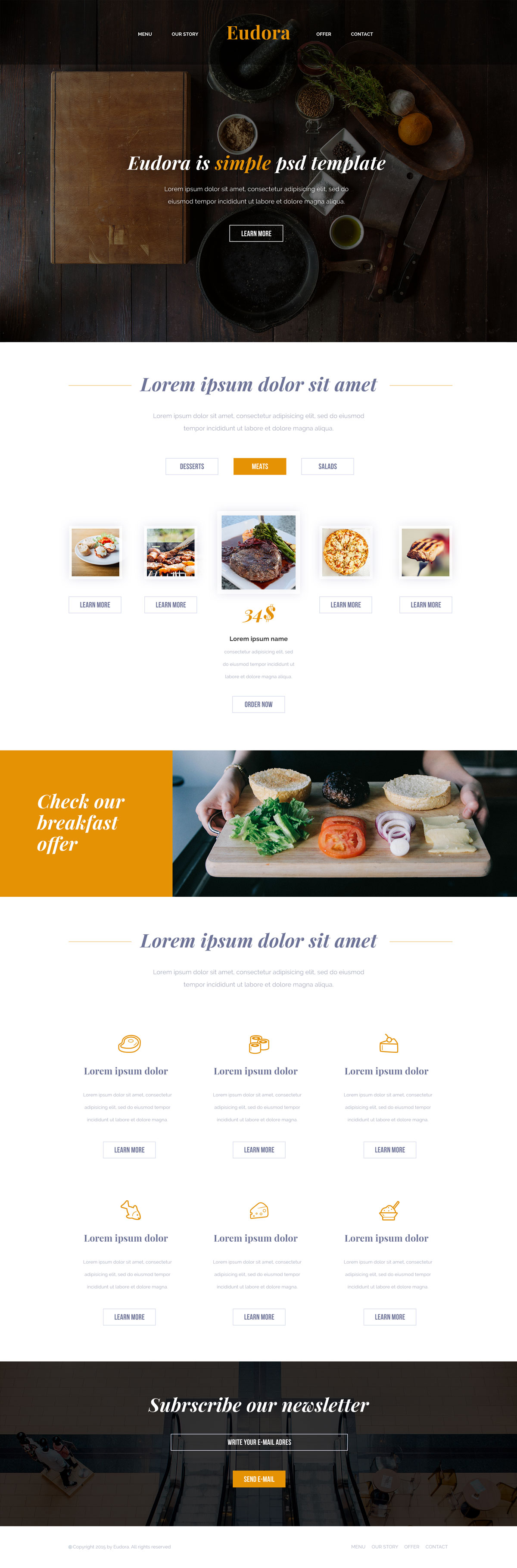Eudora HTML Template for Restaurant & Food Websites | Free HTML5 ...
