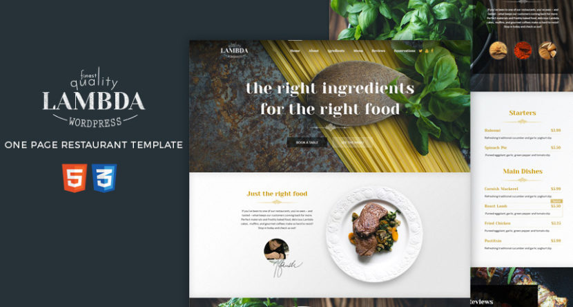 Free One Page Restaurant HTML Template