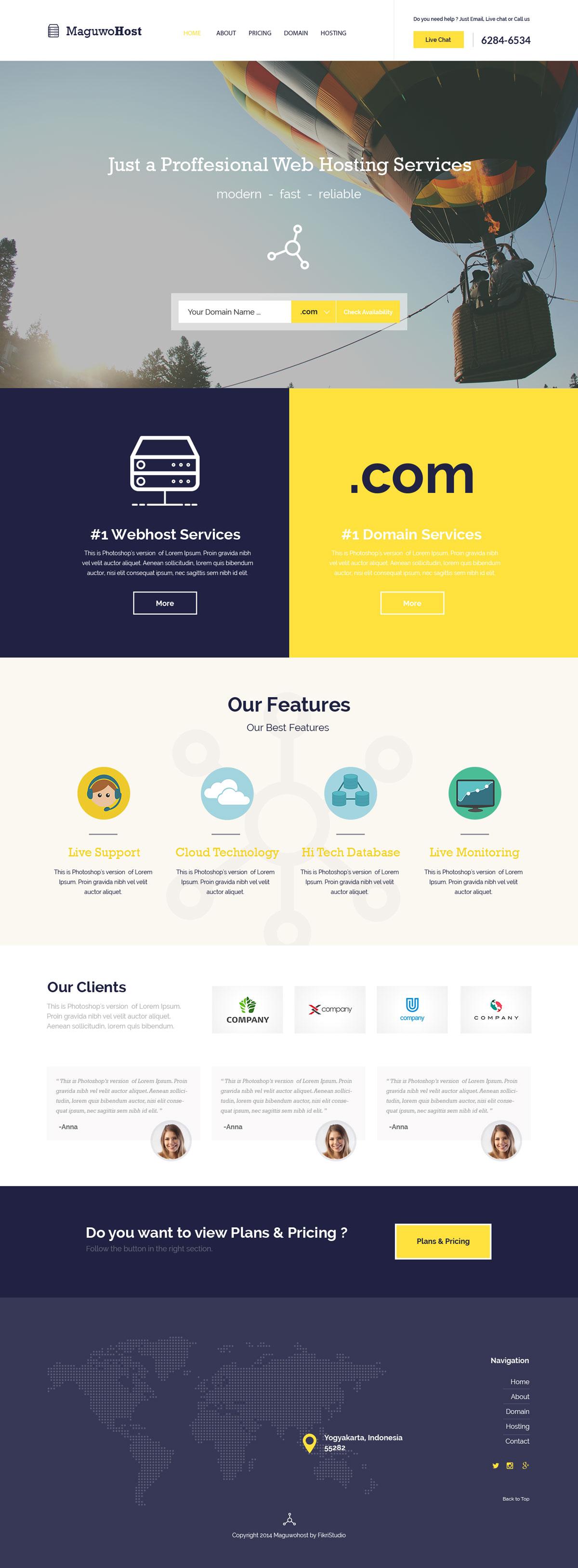 web hosting templates free