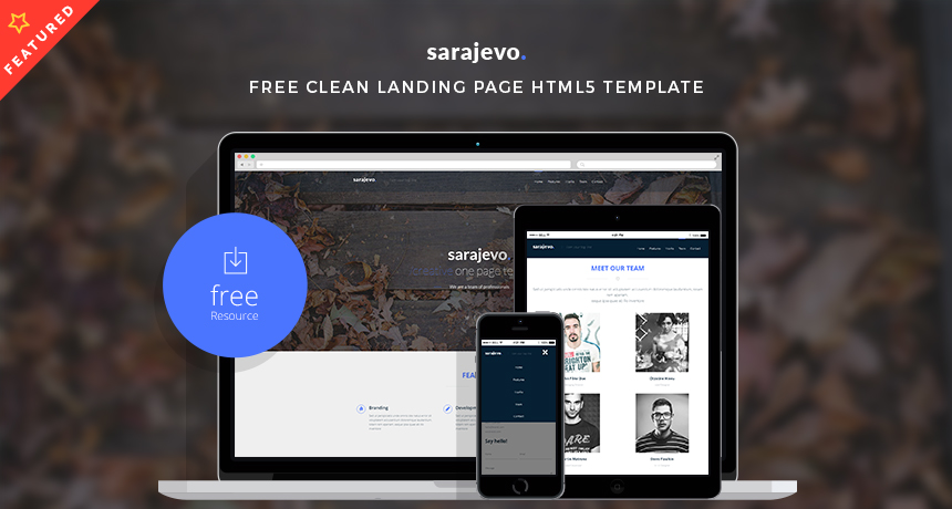 free landing page templates for wordpress - sarajevo free clean landing page html5 template free