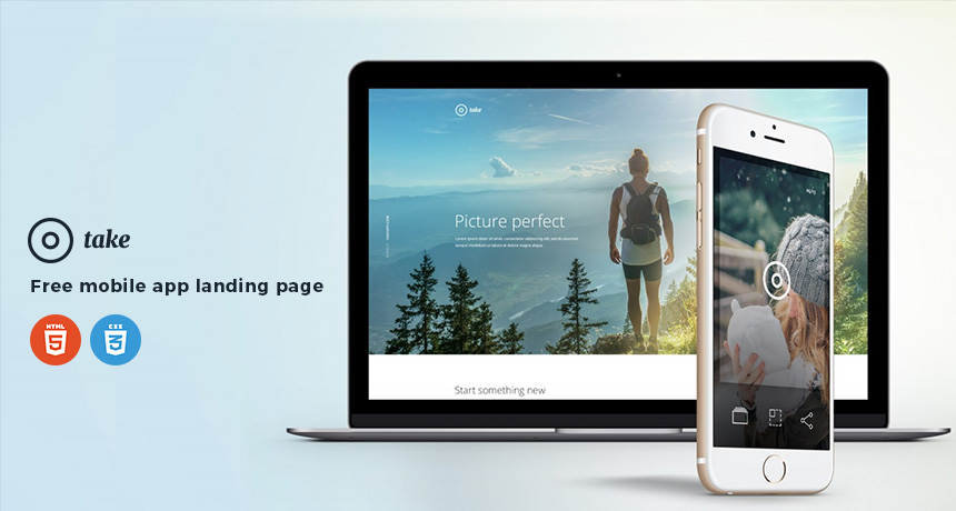 Take - Free Mobile App Landing Page HTML Template | Free HTML5 Templates