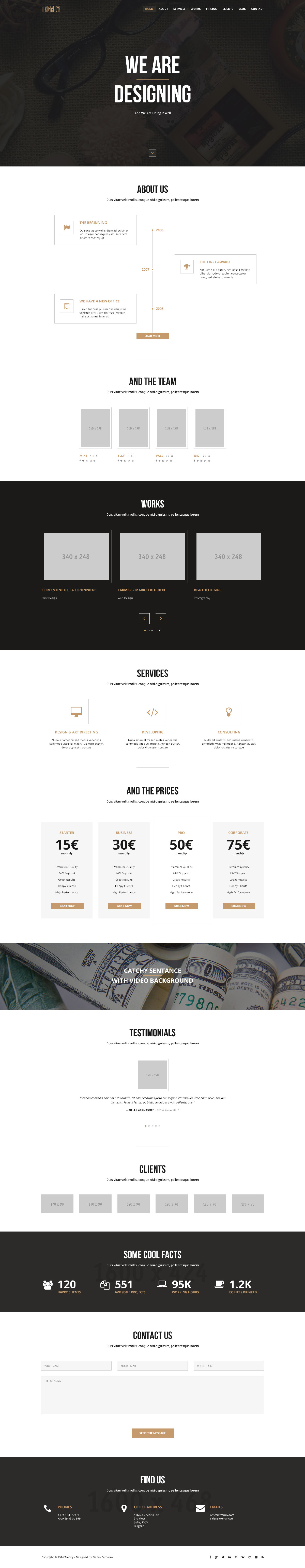 trendy creative one page html template free html5 templates. Black Bedroom Furniture Sets. Home Design Ideas