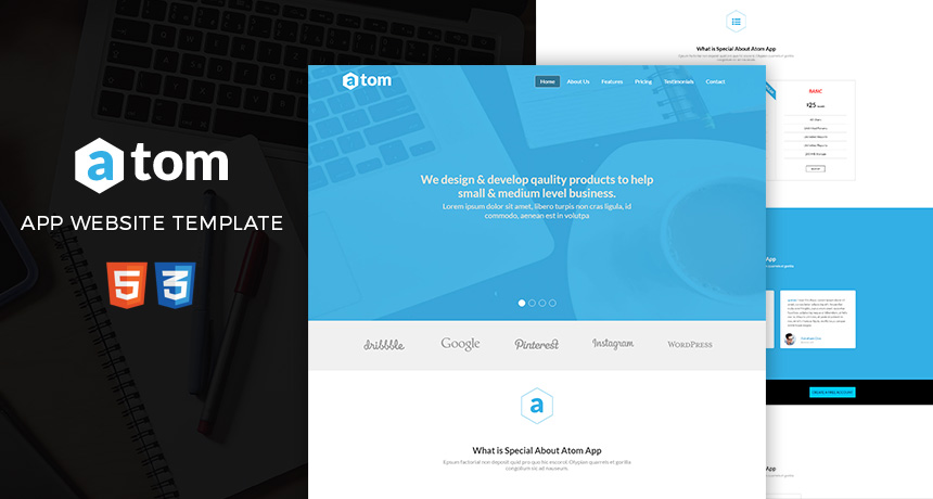 Atom free html template for applications free html5 templates maxwellsz