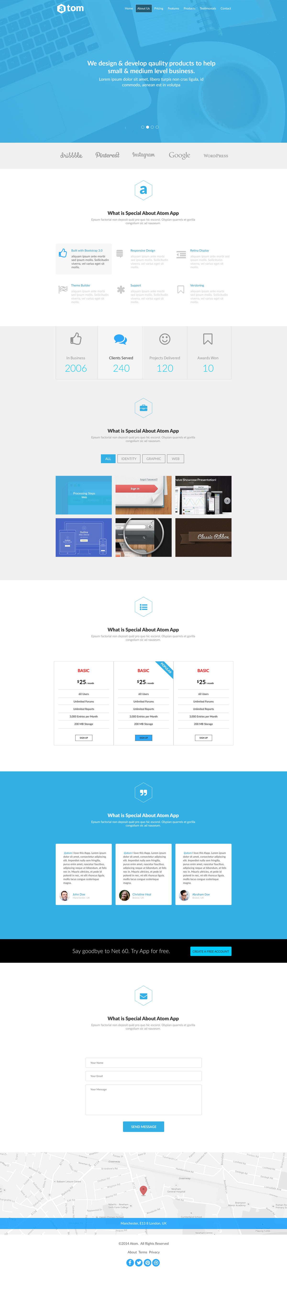 Atom - Free HTML Template for Applications | Free HTML5 Templates