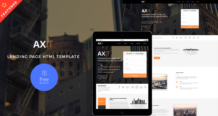 Axit – Landing Page HTML Template