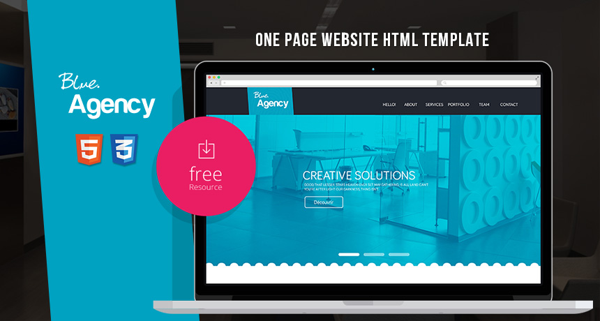 blue agency one page website html template free html5 templates. Black Bedroom Furniture Sets. Home Design Ideas