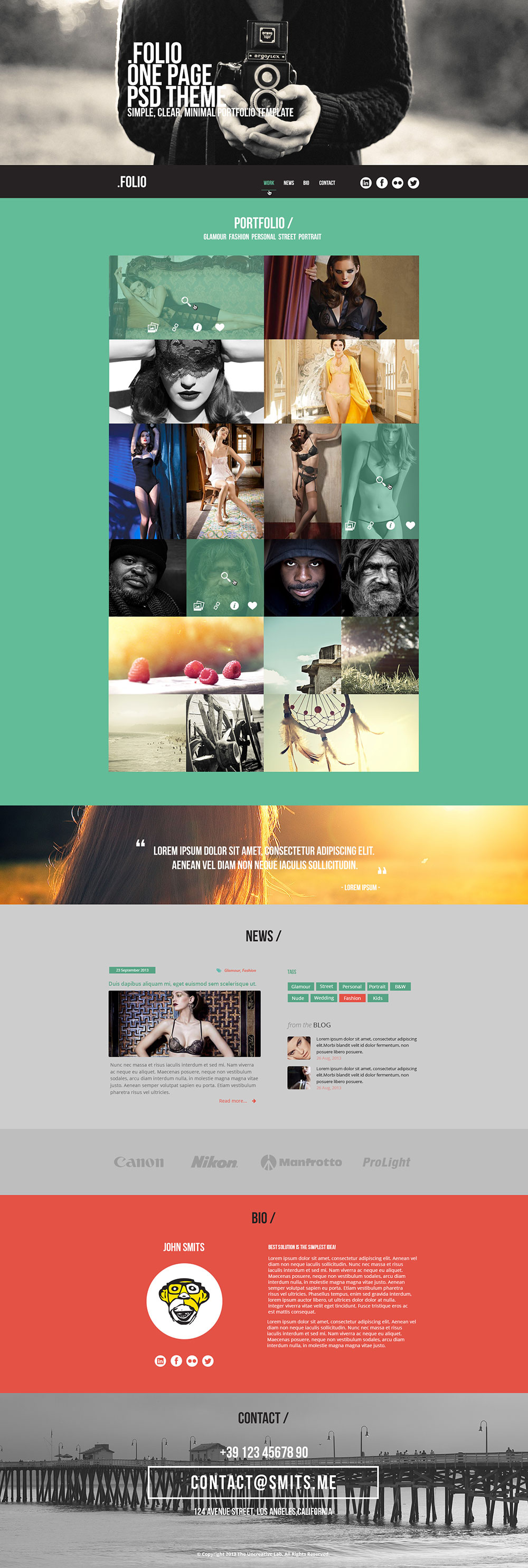 Folio One Page Free HTML Template