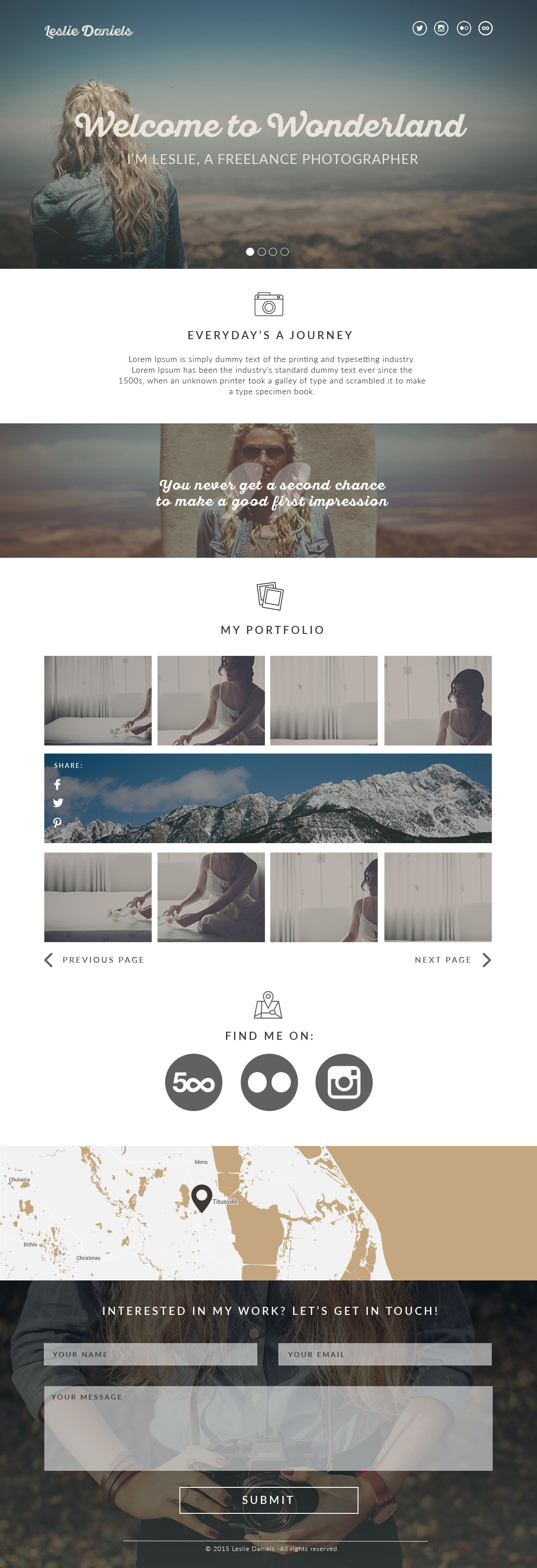 Leslie - PSD portfolio page for photographers