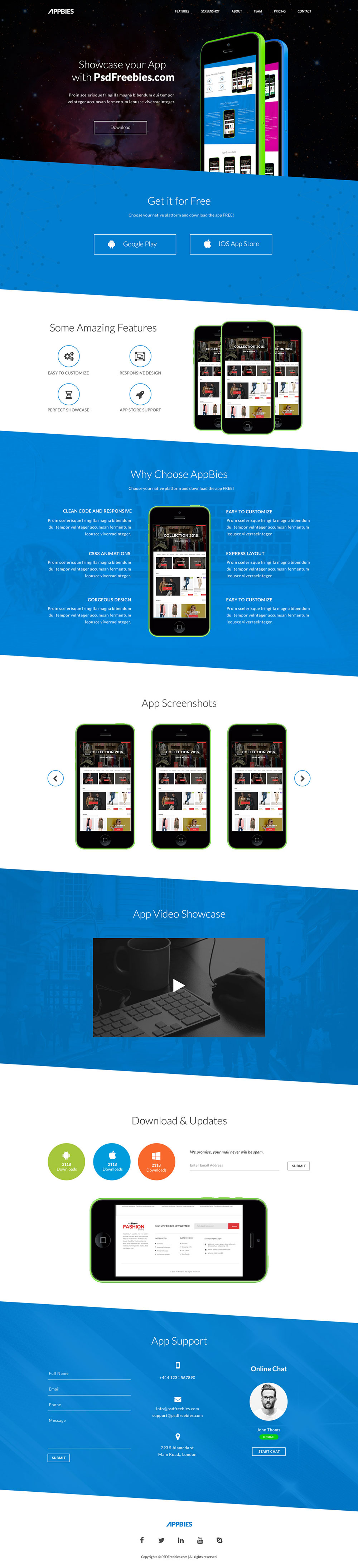 APPBIES - One Page App Landing Free HTML Template | Free HTML5 Templates