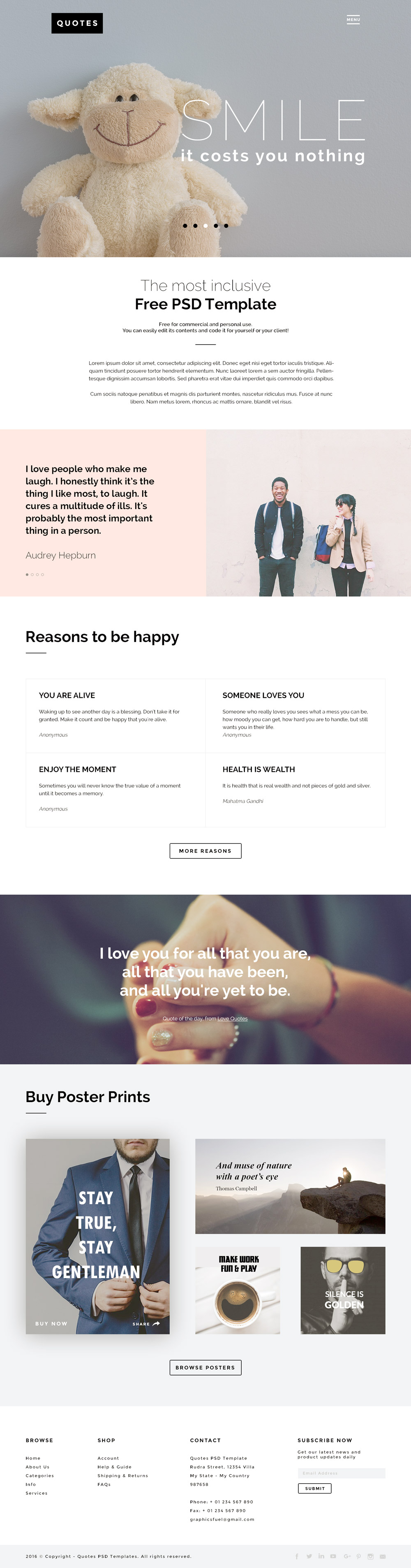QUOTES Free PSD Website Template