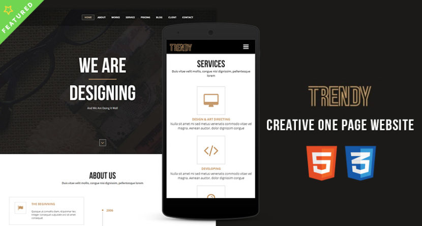 Trendy – Creative One Page HTML Template