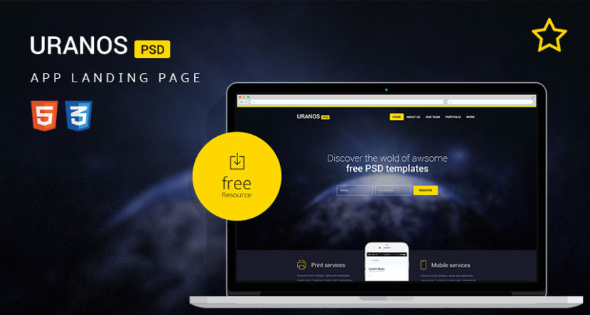 Uranos HTML Template for App Landing Page