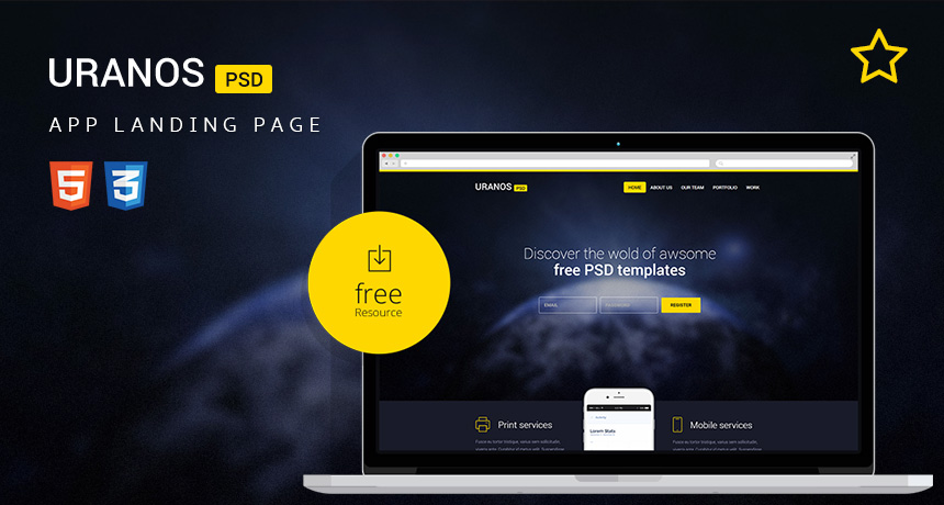 Uranos HTML Template For App Landing Page Free HTML Templates - Landing page html template
